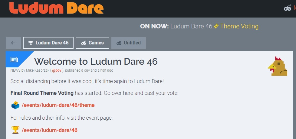 Ludum Dare 46 in isolamento sociale